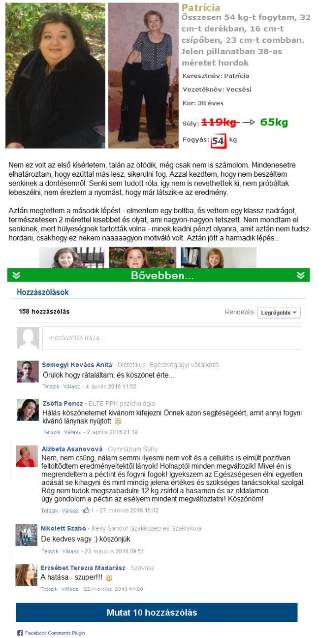 női egészségügyi zsírégetők naplója)
