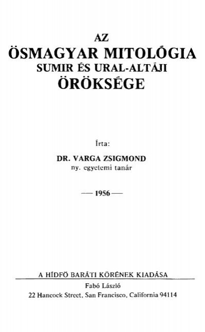 ÖSMAGYAR MITOLÓGIA ÖRÖKSÉGE - PDF Free Download